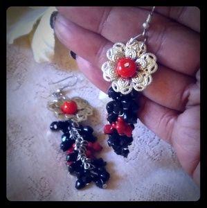 Vintage Black & Red Bead Cluster Dangle Earrings